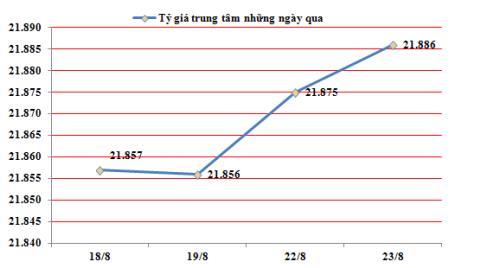Ngày 23/8: TGTT tiếp tục tăng thêm 11 đồng lên 21.886VND/USD